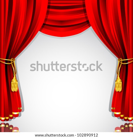 illustration of silk stage curtain with white backdrop - stock vector