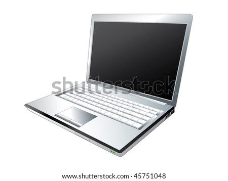 Illustration of silver laptop computer - stock vector
