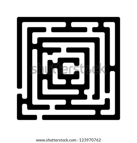 Illustration of simple black maze - stock vector