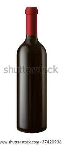 Illustration of single bottle of red wine, EPS 10 contains transparency.  - stock vector