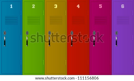 Illustration of six lockers of different colors.