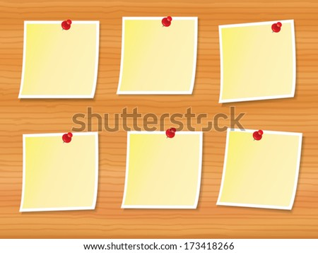 illustration of six notes pinned to wooden board