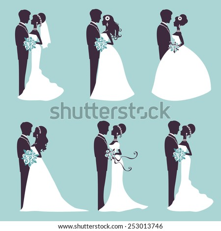 Illustration of Six wedding couples in silhouette in vector format - stock vector
