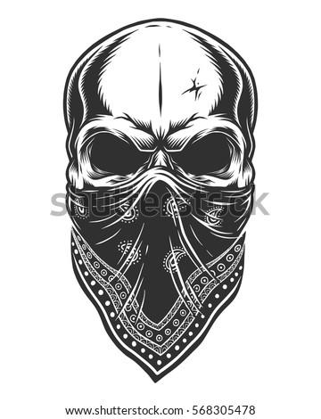 illustration skull bandana on face monochrome stock vector