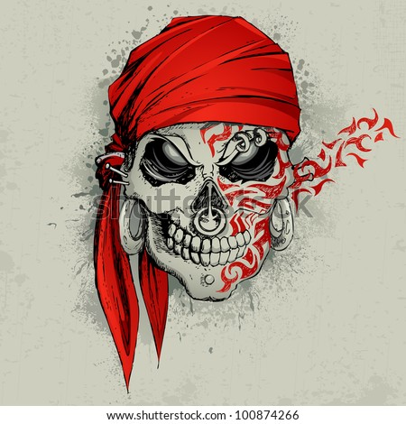 illustration of skull with bandana on abstract grungy background - stock vector
