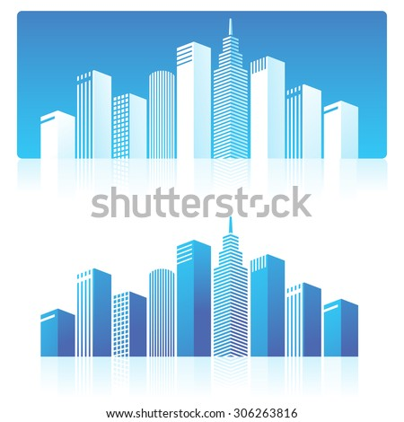 Illustration of skyscrapers on blue background.  - stock vector