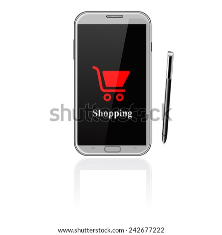 Illustration of smart phone with shopping trolley - stock vector