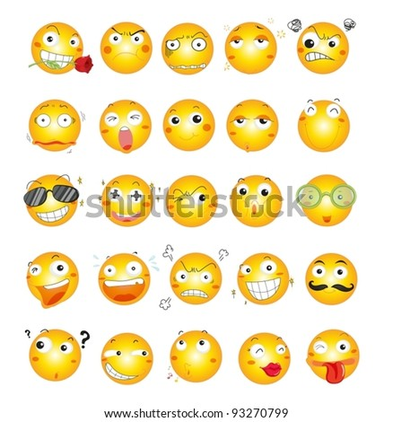 Illustration of smile face icons - stock vector