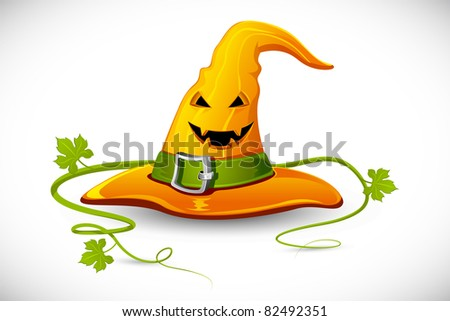 illustration of smiley face carved on witch hat for halloween - stock vector