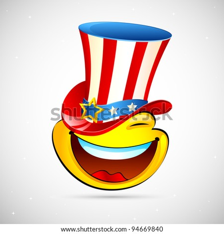 illustration of smiley with american hat on abstract background - stock vector