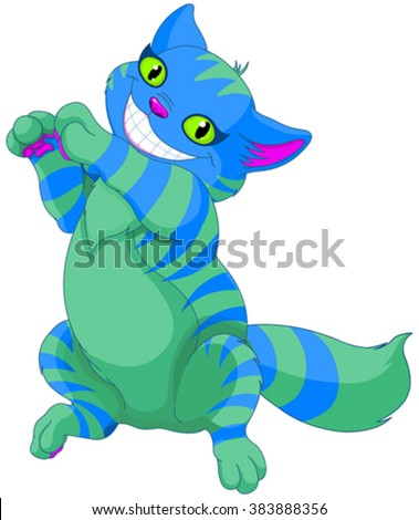 Illustration of smiling Cheshire cat  - stock vector