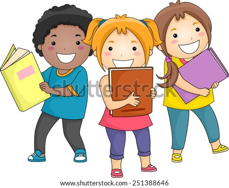 Illustration of Smiling Kids Carrying Thick Books - stock vector
