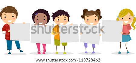 Illustration of Smiling Kids Holding Blank Boards - stock vector