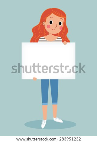 illustration of smiling young girl holding white blank sign - stock vector