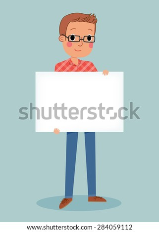 illustration of smiling young man holding white blank sign - stock vector