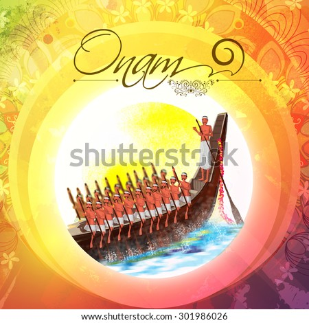 Illustration of snake boat with oarsman at river on colorful floral design decorated background for Happy Onam celebration.  - stock vector