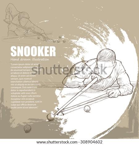 illustration of Snooker. Snooker background - stock vector