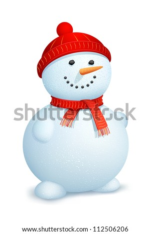 illustration of snowman wearing scarf and cap for Christmas - stock vector