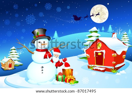 illustration of snowman with santa claus and gift box in christmas night