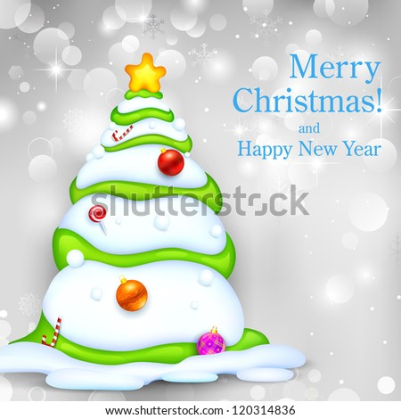 illustration of snowy Christmas tree on abstract background - stock vector