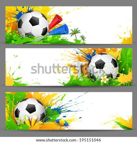 illustration of soccer ball in Football banner - stock vector