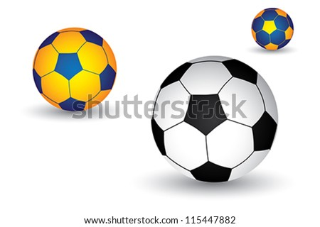 Illustration of soccer(football) ball in black and white as well as yellow and blue colors. The balls graphic has shadow and is on white background - stock vector