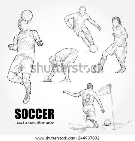 Illustration of Soccer. Hand drawn.