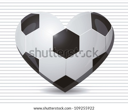 illustration of soccer heart on a background of green lines, vector illustration - stock vector
