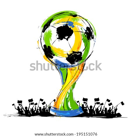 illustration of soccer trophy in Football background - stock vector