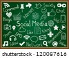 Illustration of social media icons and terms drawn on chalkboard - stock vector