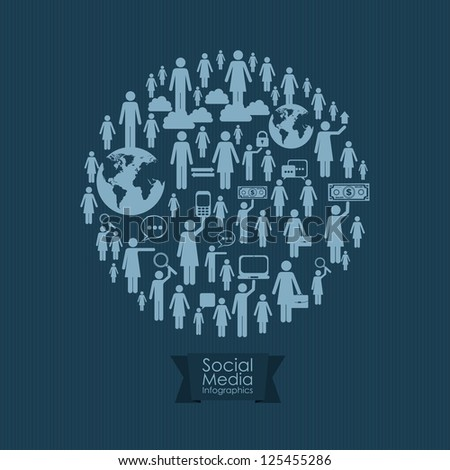 illustration of Social Media Infographic, with business and social networks infographic, vector illustration - stock vector