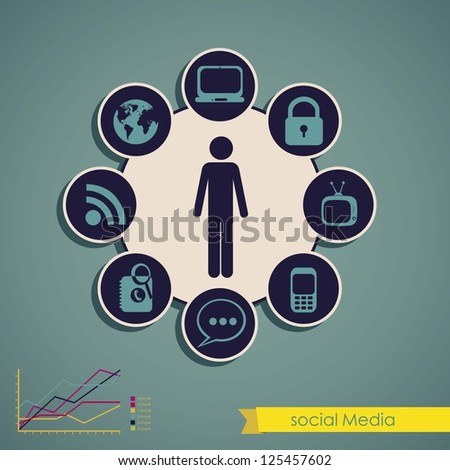 illustration of Social Media Infographic, with colors graphs and business icons, vector illustration - stock vector