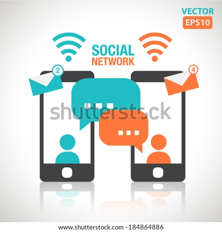Illustration of social media messaging between two touch screen smartphone vector - stock vector