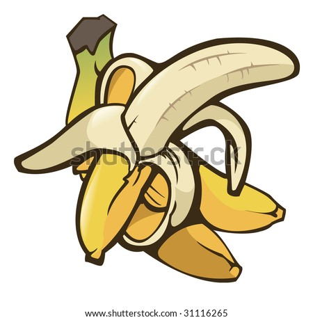Illustration of some bananas on white background - Isolated object - stock vector