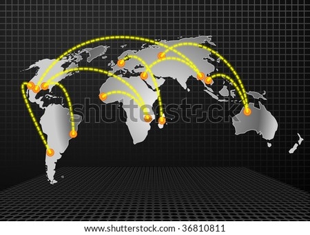 Illustration of some world trades routes. - stock vector