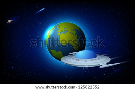 illustration of space craft near earth in space - stock vector