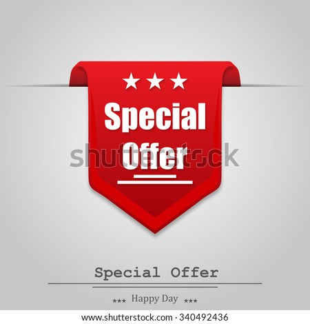 Illustration of special offer on a  gray background with shadow - stock vector