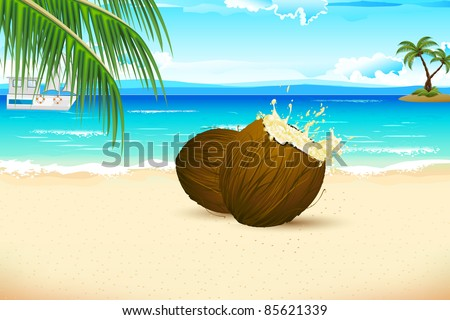 illustration of splashing coconut on sea beach with palm tree