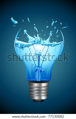 illustration of splashing water coming out of broken bulb - stock vector