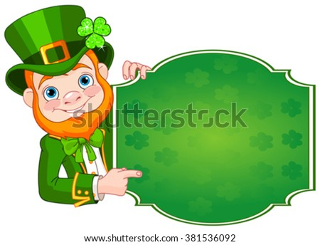 Illustration of St. Patrick's Day Leprechaun holds sign - stock vector