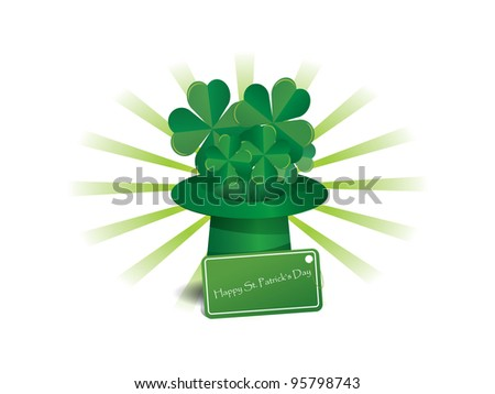 Illustration of St. Patrick's hat with four-leaf clover - stock vector