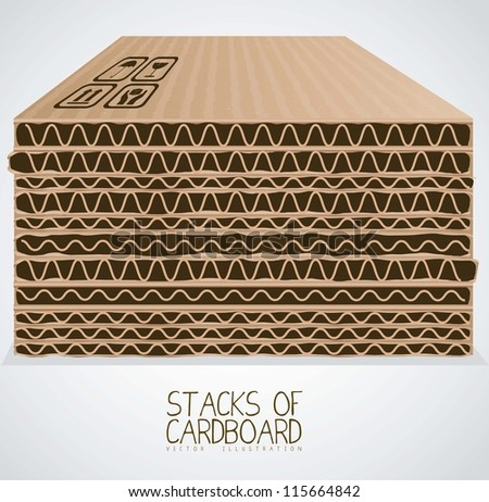 Illustration of stacks of cardboard boxes, cardboard texture, vector illustration - stock vector