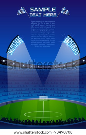 illustration of stadium with floodlight and crowd - stock vector