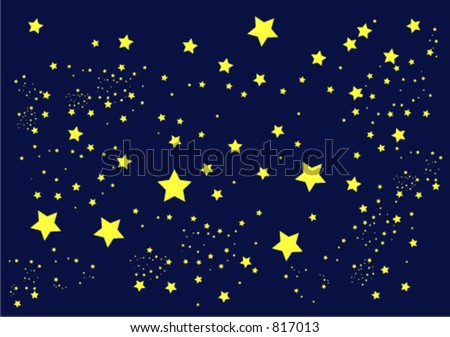 illustration of stars against a dark blue sky - stock vector
