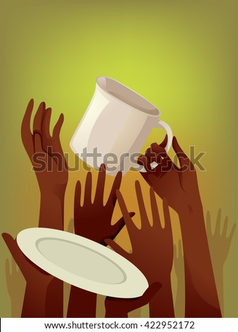 Illustration of Starving People Asking for Food - stock vector