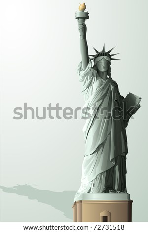 illustration of statue of liberty on abstract background - stock vector