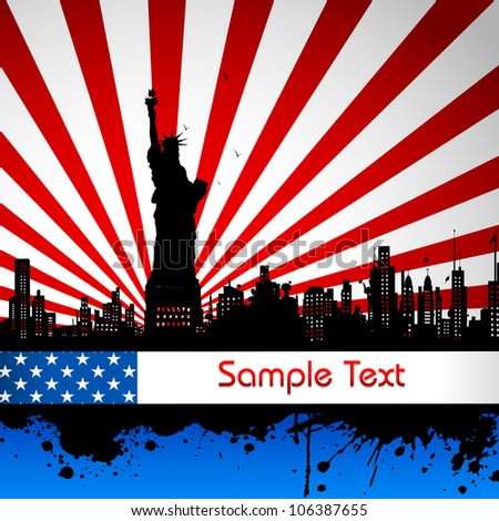 illustration of Statue of Liberty on American flag backdrop