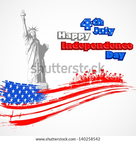illustration of Statue of Liberty with American flag for Independence Day - stock vector