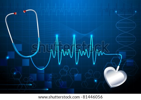 illustration of stethoscope showing heart beat on abstract medical background - stock vector