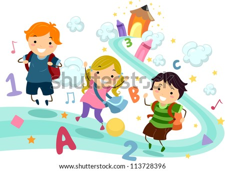 Illustration of Stick Kids Playing with Numbers and Letters of the Alphabet - stock vector